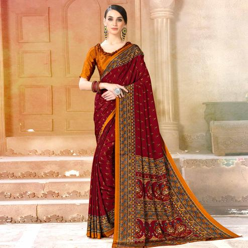 Preferable Maroon Colored Casual Wear Printed Crepe Saree