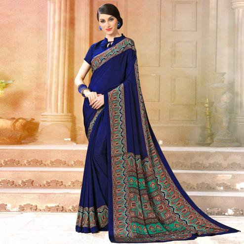 Marvellous Blue Colored Casual Wear Printed Crepe Saree