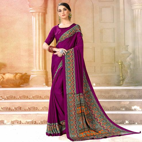 Flamboyant Purple Colored Casual Wear Printed Crepe Saree