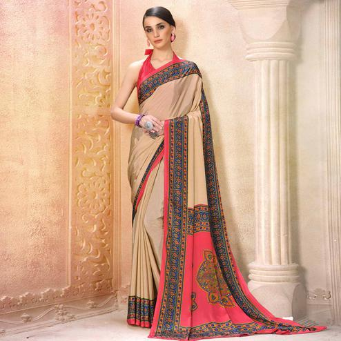 Pretty Cream-Pink Colored Casual Wear Printed Crepe Saree