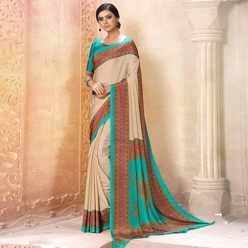 Alluring Cream-Blue Colored Casual Wear Printed Crepe Saree