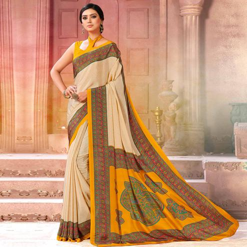 Sensational Cream-Yellow Colored Casual Wear Printed Crepe Saree