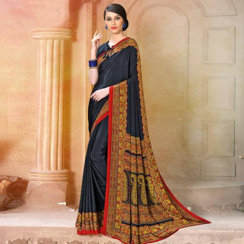 Flaunt Black Colored Casual Wear Printed Crepe Saree