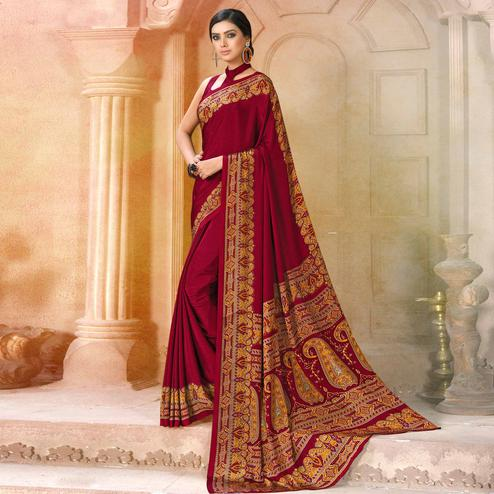 Stunning Maroon Colored Casual Wear Printed Crepe Saree