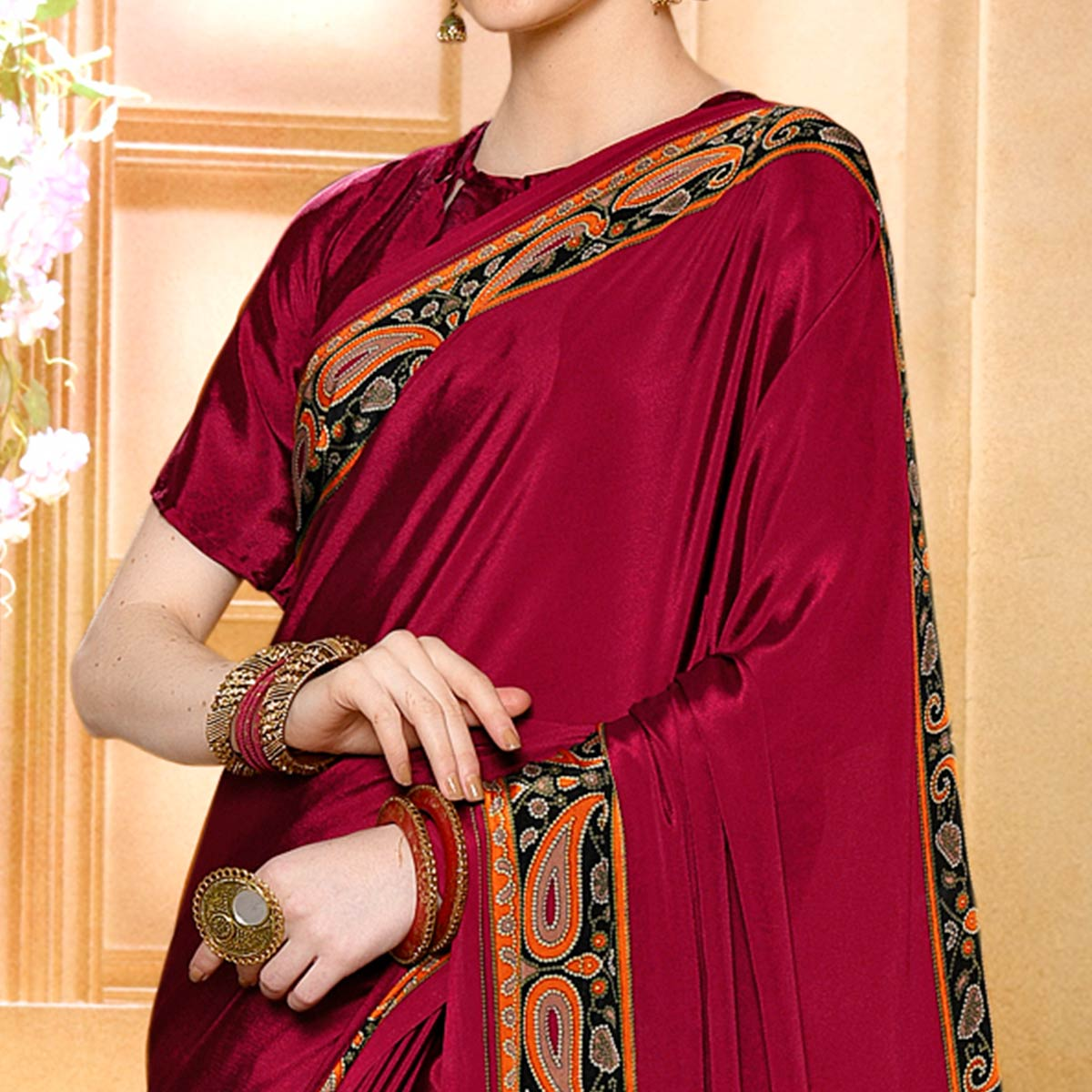 Flirty Pink Colored Casual Wear Printed Crepe Saree