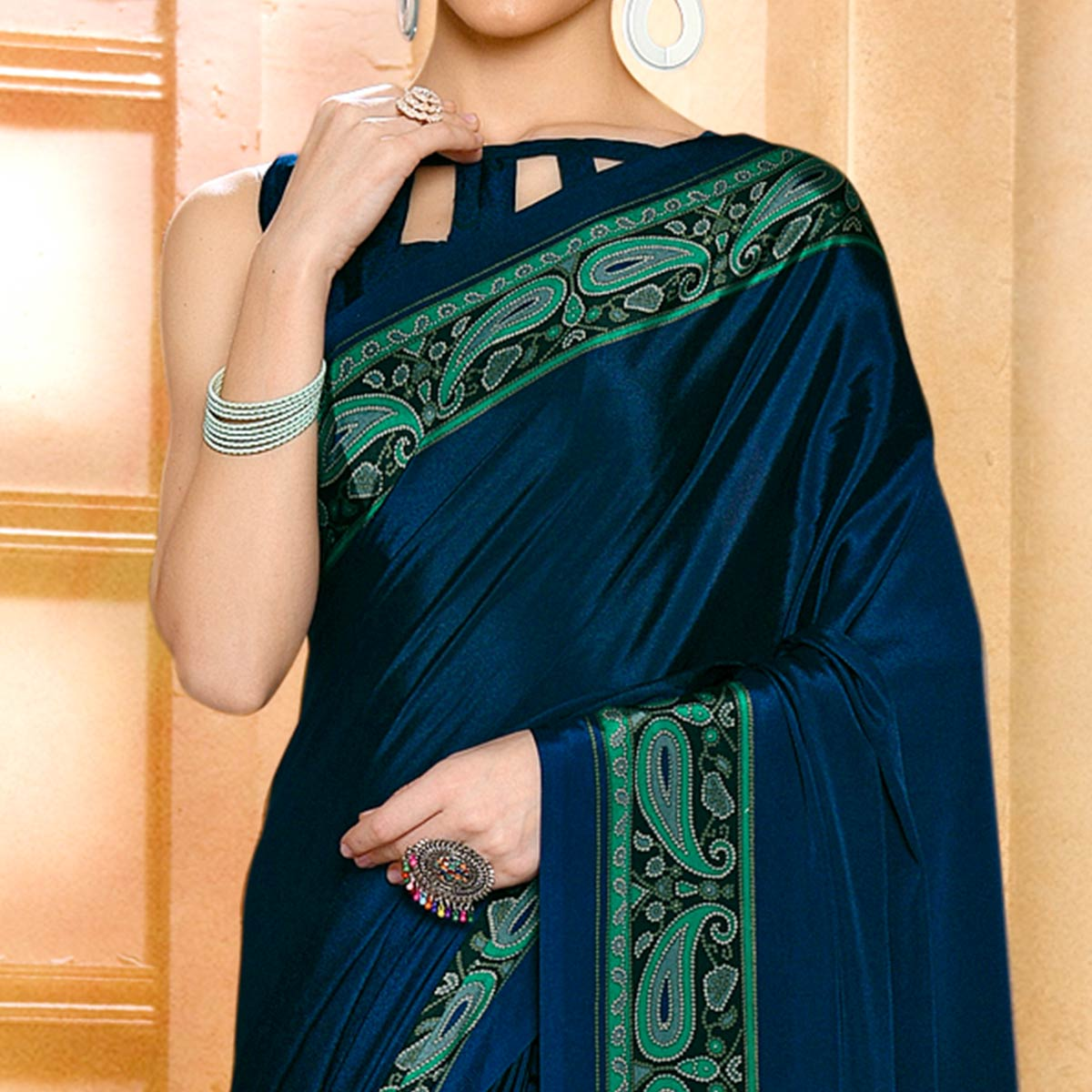 Staring Navy Blue Colored Casual Wear Printed Crepe Saree