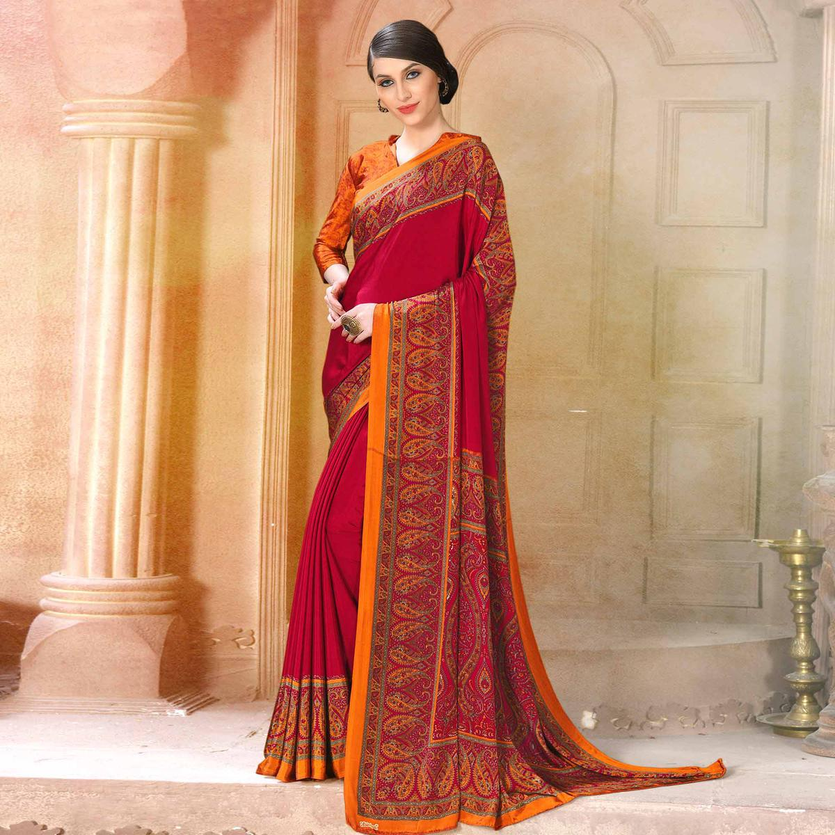 Dazzling Pink Colored Casual Wear Printed Crepe Saree