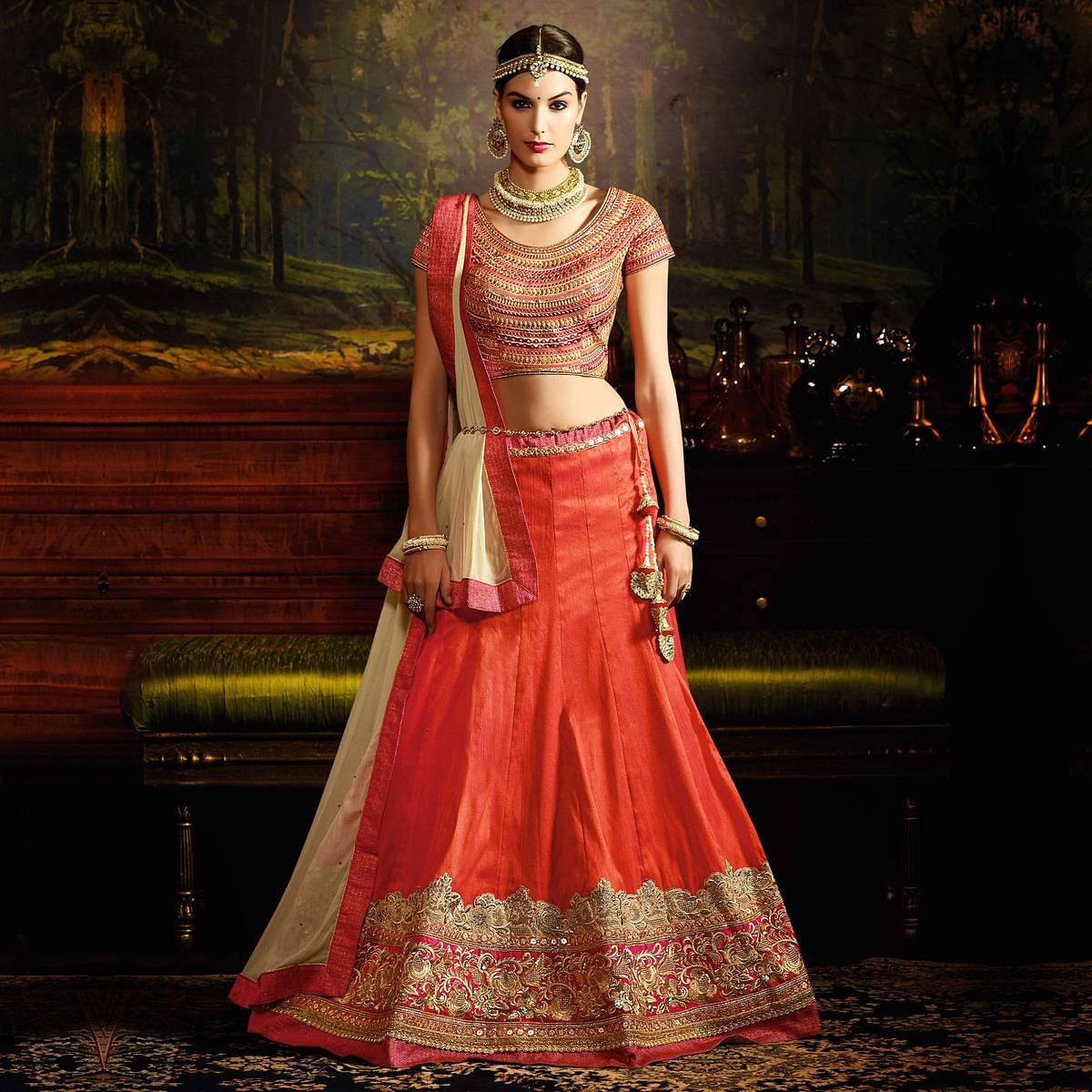 Orange - Pink Silk Wedding Lehenga