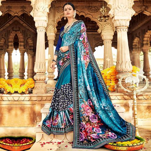 Breathtaking Rama Blue Colored Partywear Floral Foil Printed Georgette Saree