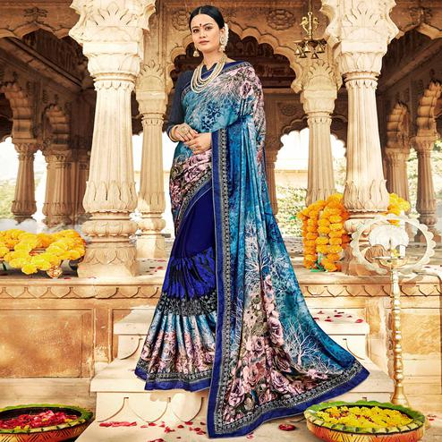 Staring Navy Blue Colored Partywear Floral Foil Printed Georgette Saree