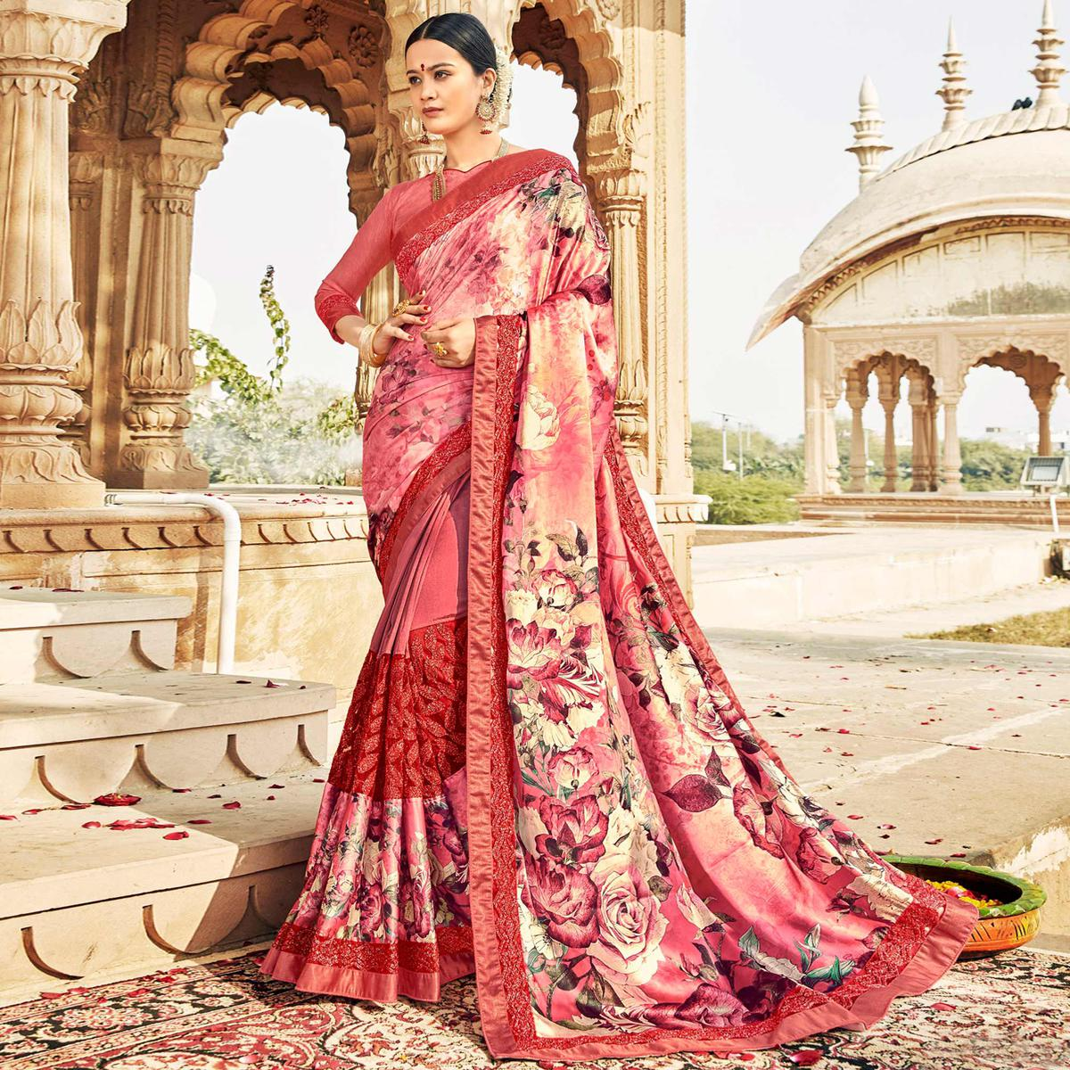 Dazzling Pink Colored Partywear Floral Foil Printed Georgette Saree