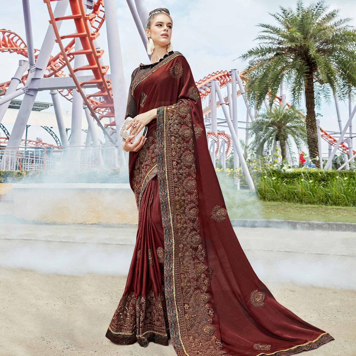 Appealing Brown Colored Partywear Embroidered Art Silk Saree