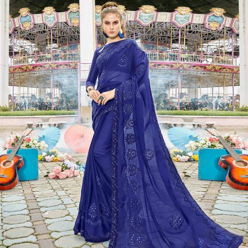 Capricious Blue Colored Partywear Embroidered Art Silk Saree
