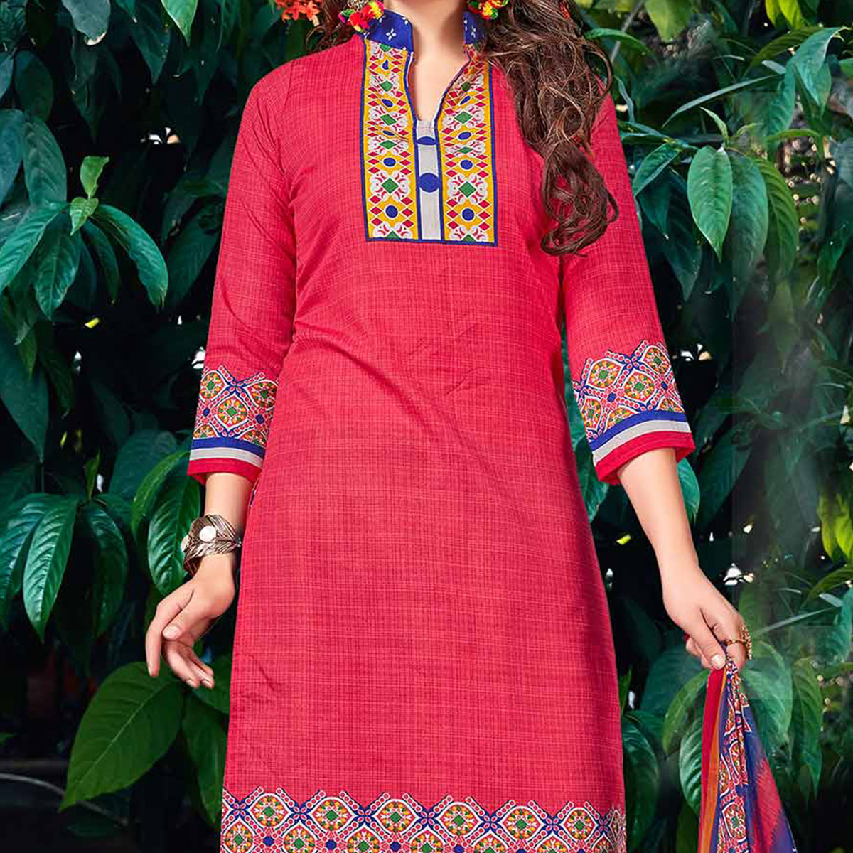 Red - Blue Pure Cotton Dress Material