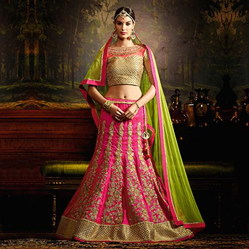 Pink - Green Wedding Wear Designer Lehenga