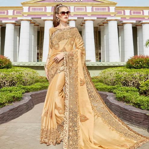 Adorning Beige Colored Partywear Embroidered Art Silk Saree