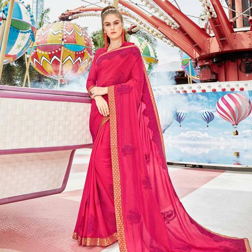 Exclusive Pink Colored Partywear Embroidered Art Silk Saree
