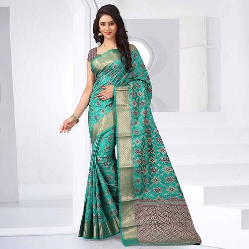 Arresting Aqua Blue Colored Festive Wear Woven Silk Saree