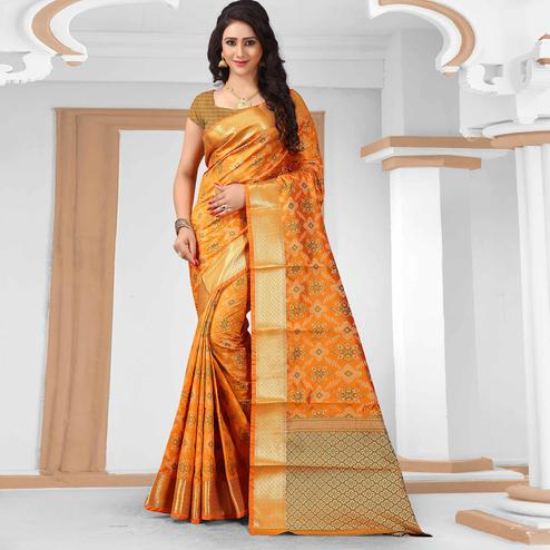 Desirable Orange Colored Festive Wear Woven Silk Saree
