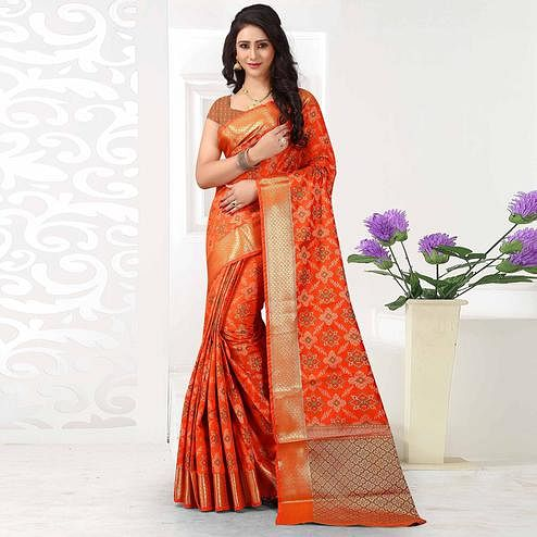 Exotic Orange Colored Festive Wear Woven Silk Saree