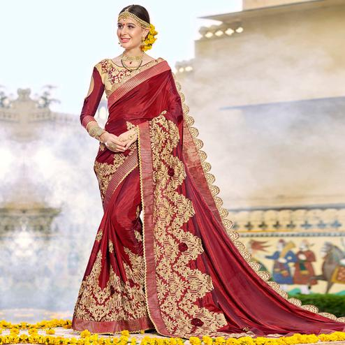 Intricate Maroon Colored Party Wear Floral Embroidered Art Silk Saree