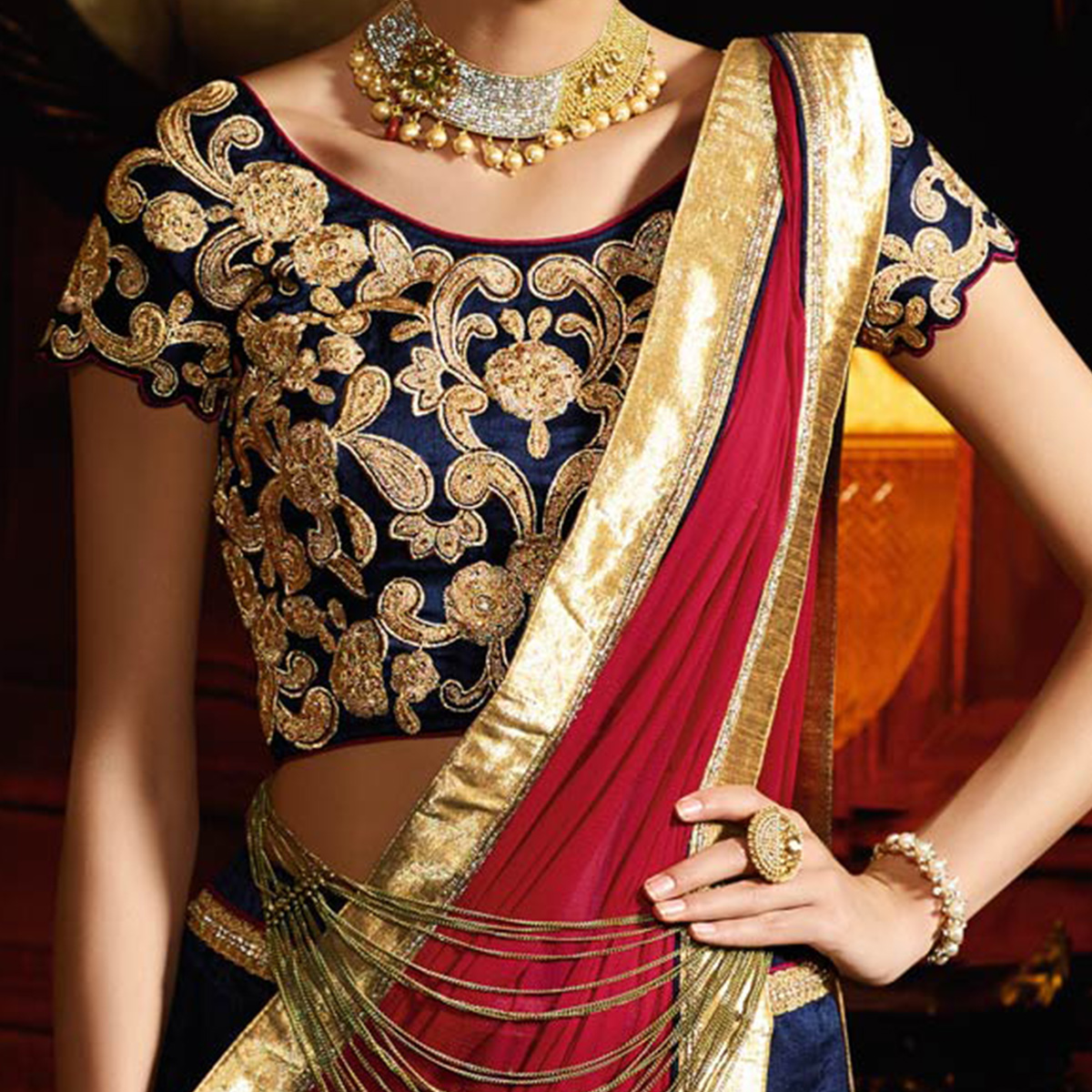 Navy Blue - Red Designer Lehenga
