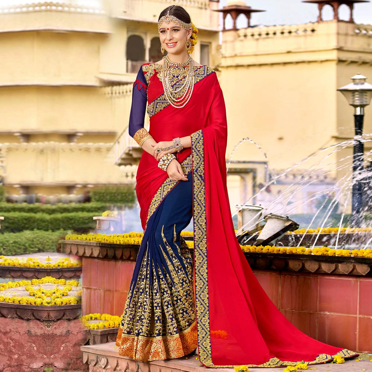 Desirable Red-Blue Colored Party Wear Floral Embroidered Art Silk Half-Half Saree