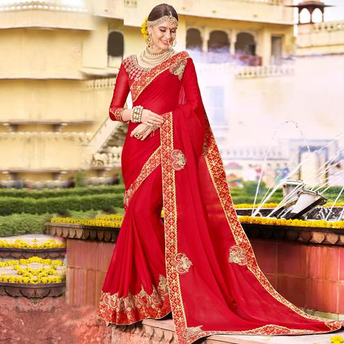 Radiant Red Colored Party Wear Floral Embroidered Art Silk Saree