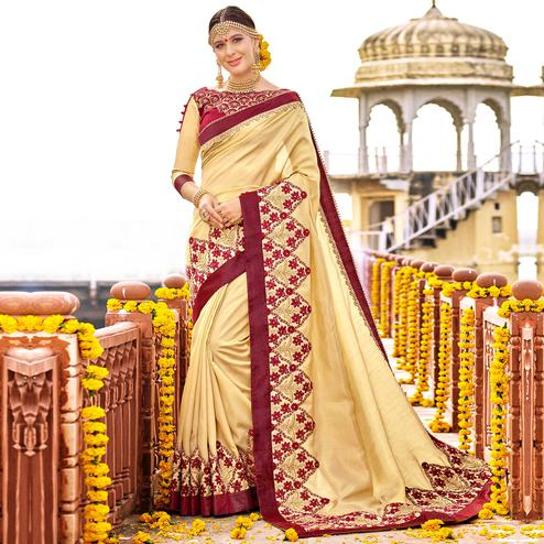 Pleasant Beige Colored Party Wear Floral Embroidered Art Silk Saree