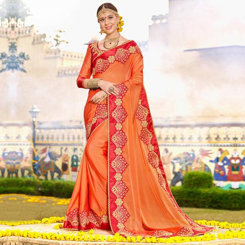 Opulent Orange Colored Party Wear Floral Embroidered Art Silk Saree