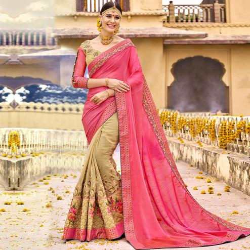Glowing Pink-Beige Colored Party Wear Floral Embroidered Art Silk Half-Half Saree