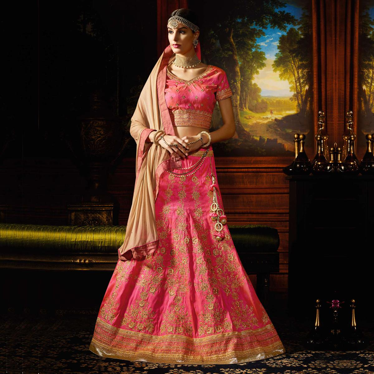 Pink Wedding Wear Silk Lehenga Choli