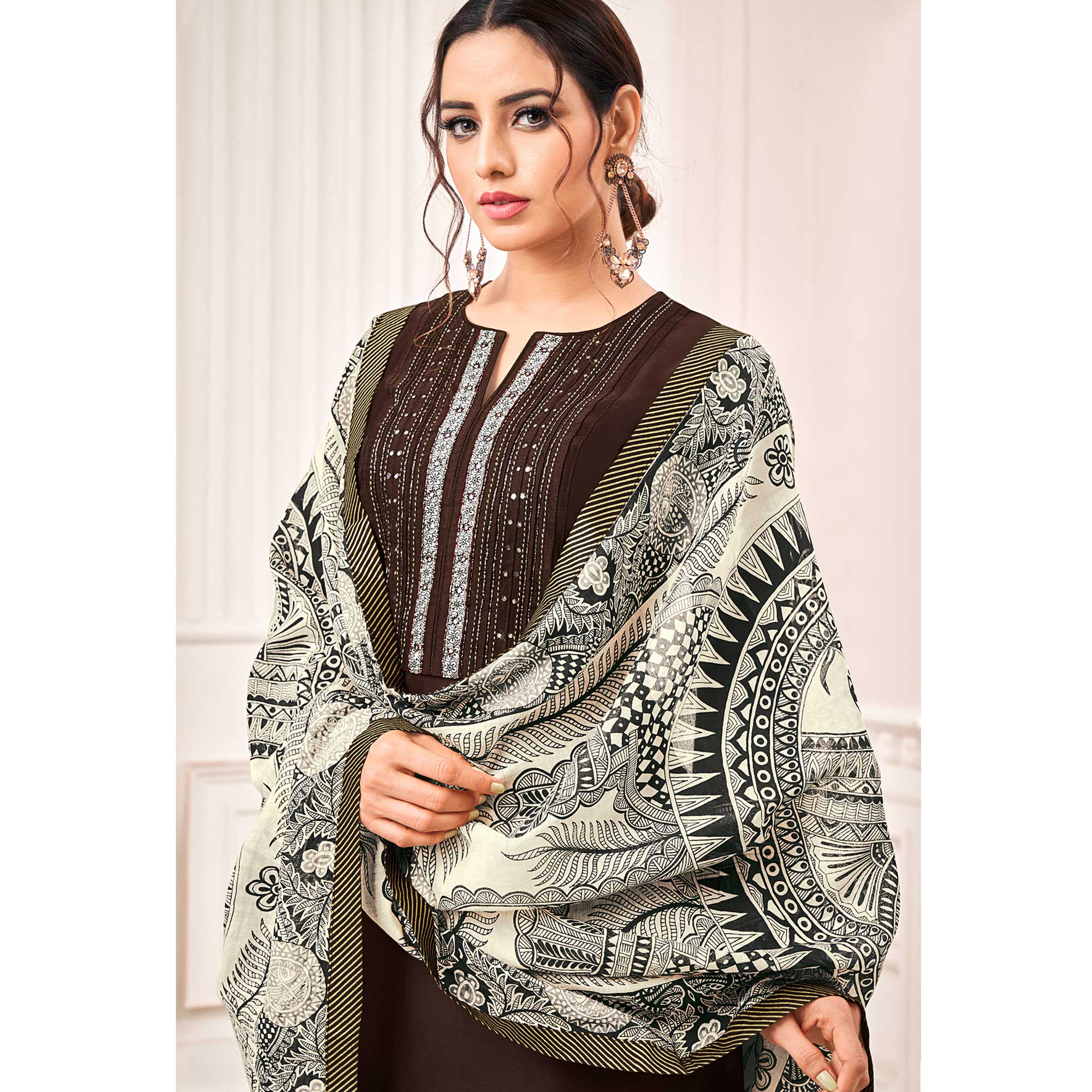Arresting Brown Colored Casual Printed Cotton Silk Dress Material