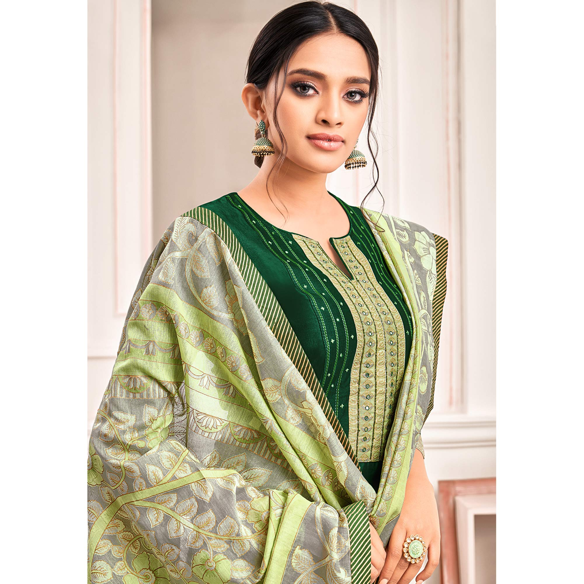 Glorious Green Colored Casual Printed Cotton Silk Dress Material