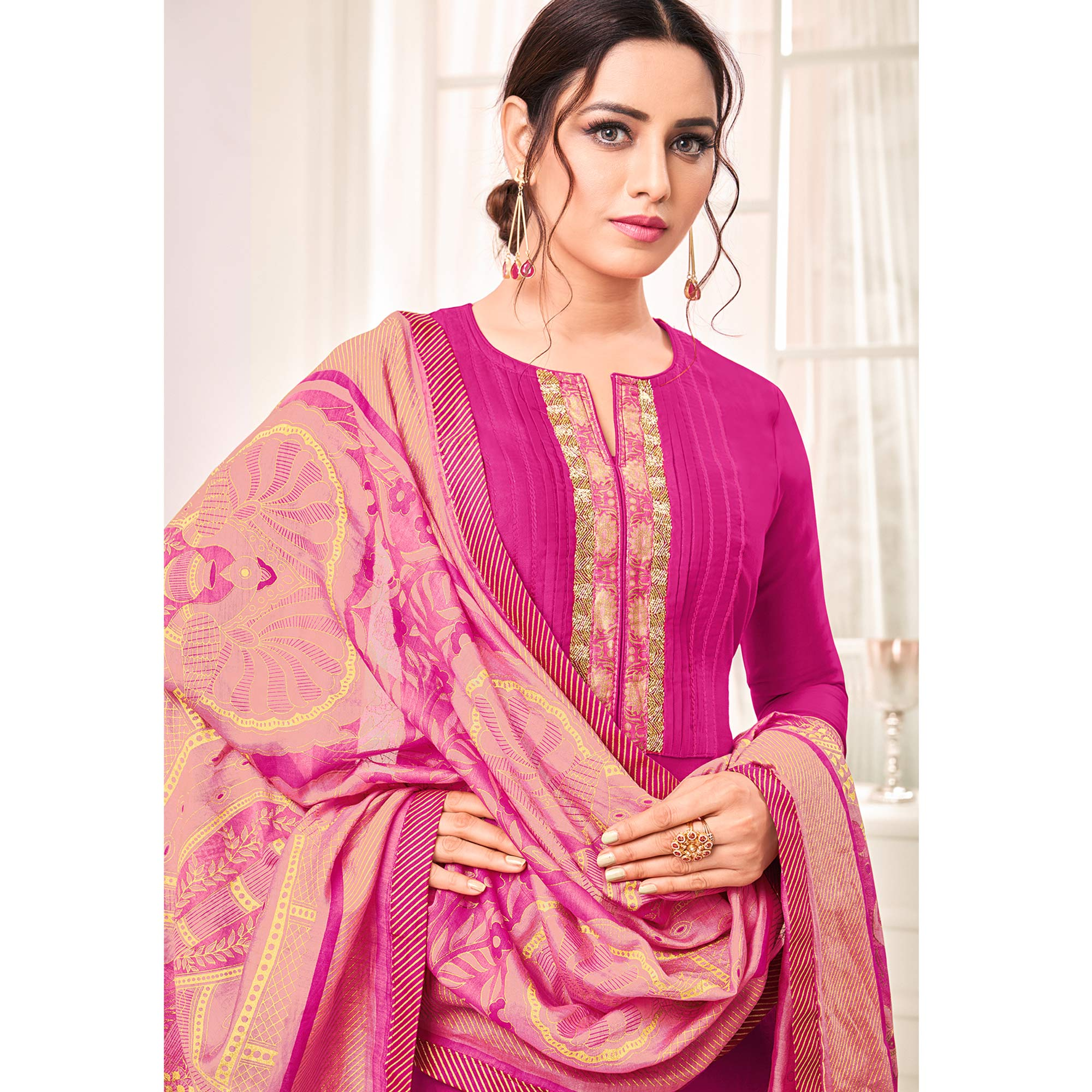 Attractive Rani Pink Colored Casual Printed Cotton Silk Dress Material