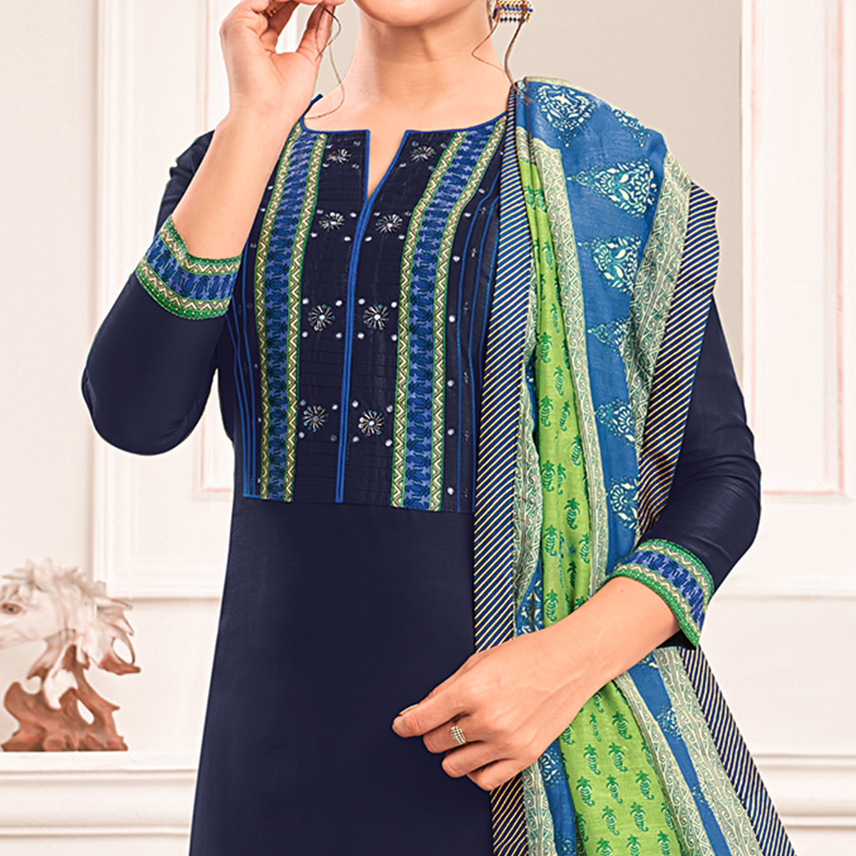 Trendy Navy Blue Colored Casual Printed Cotton Silk Dress Material