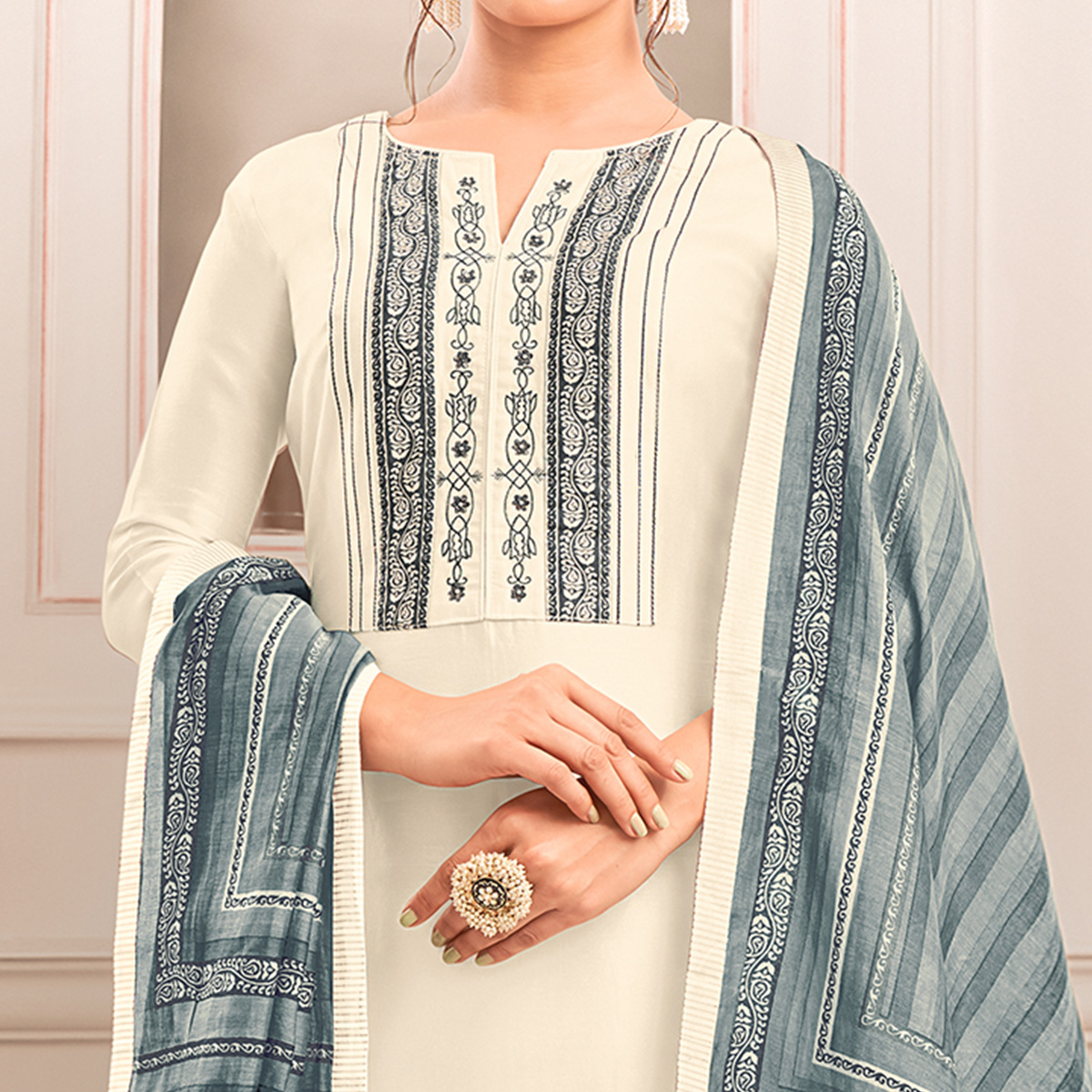 Pleasant White Colored Casual Printed Cotton Silk Dress Material