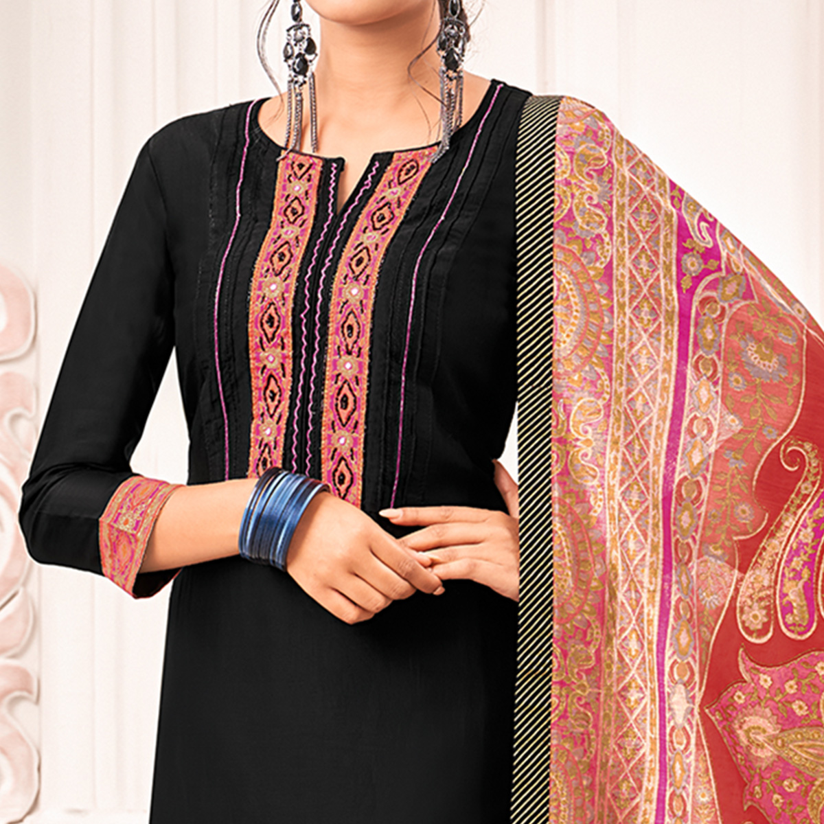Glowing Black Colored Casual Printed Cotton Silk Dress Material