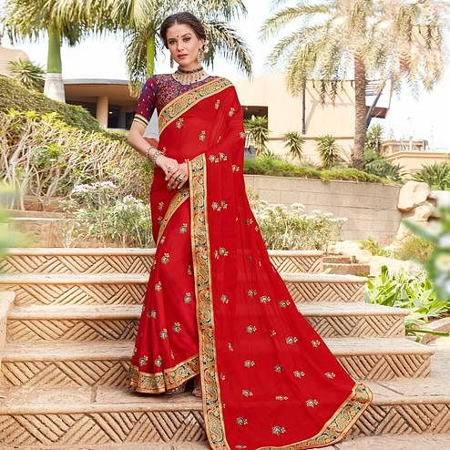Flattering Red Colored Party Wear Floral Embroidered Georgette Saree