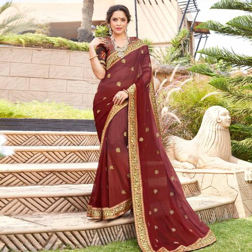 Excellent Maroon Colored Party Wear Floral Embroidered Georgette Saree