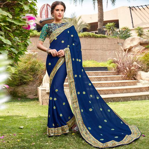 Preferable Navy Blue Colored Party Wear Floral Embroidered Georgette Saree