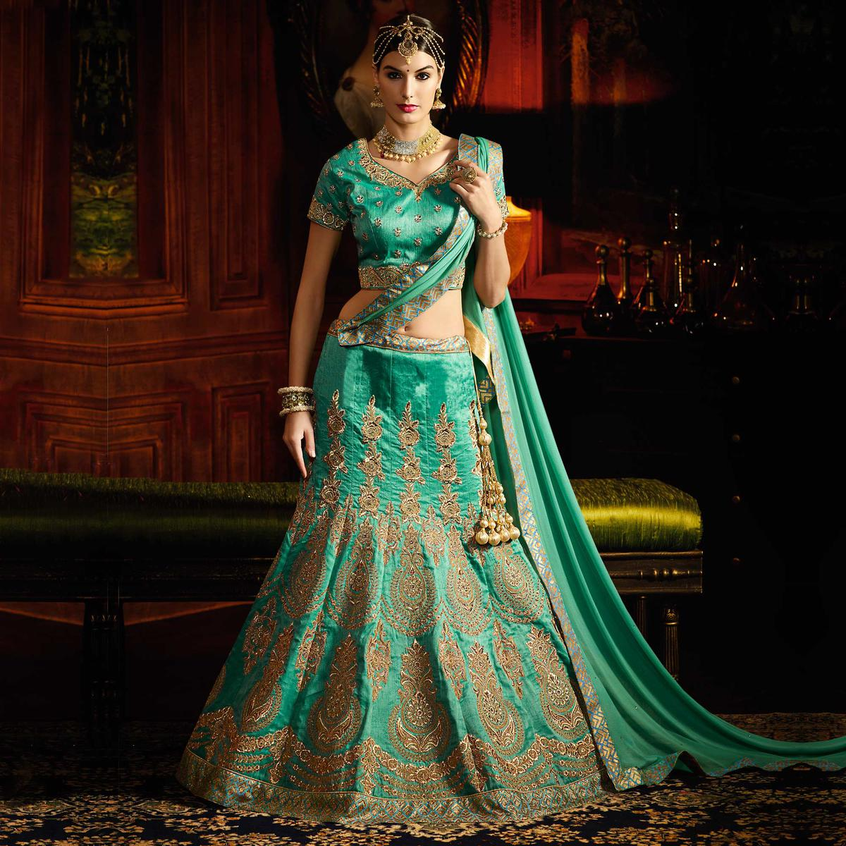 3eb69fa954 Buy Green Designer Silk Wedding Wear Lehenga for womens online India, Best  Prices, Reviews - Peachmode
