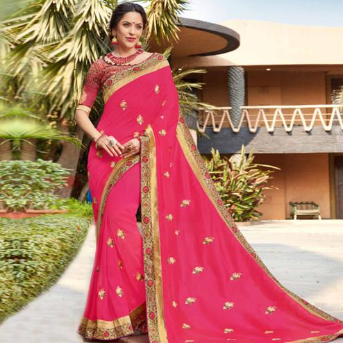 Marvellous Pink Colored Party Wear Floral Embroidered Georgette Saree