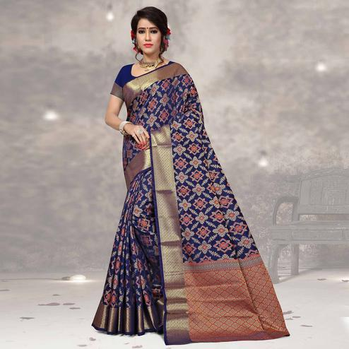 Elegant Navy Blue Colored Festive Wear Woven Silk Saree