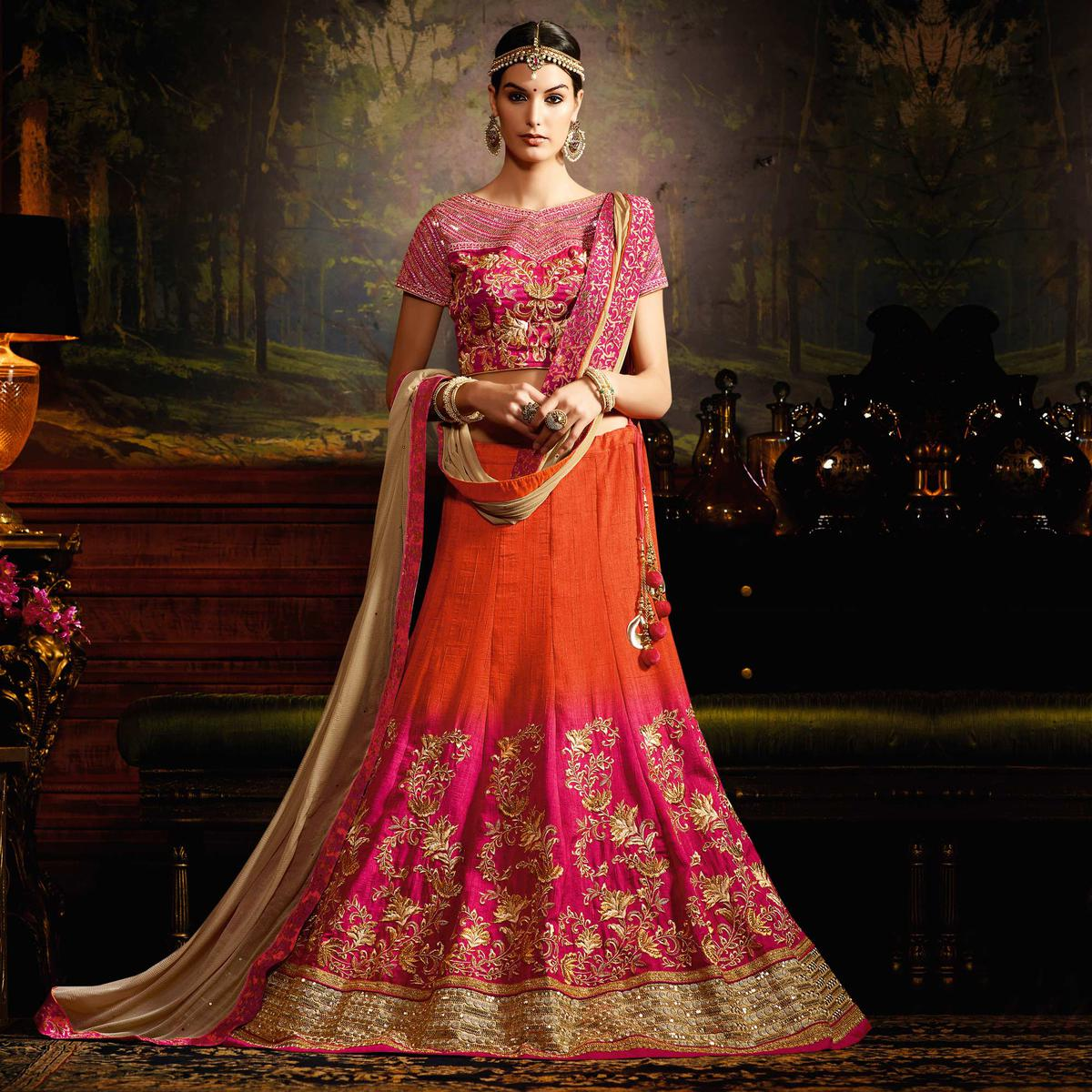 Pink - Orange Shaded Silk Lehenga