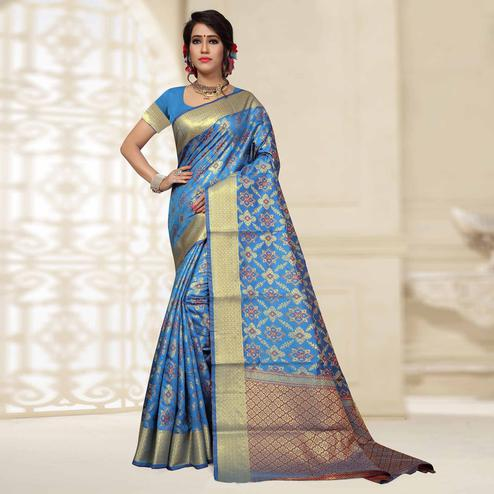 Opulent Sky Blue Colored Festive Wear Woven Silk Saree
