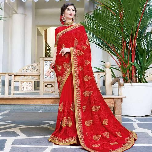 Gleaming Red Colored Partywear Embroidered Georgette Silk Saree
