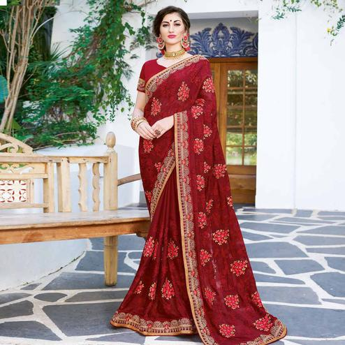 Radiant Maroon Colored Partywear Embroidered Georgette Silk Saree