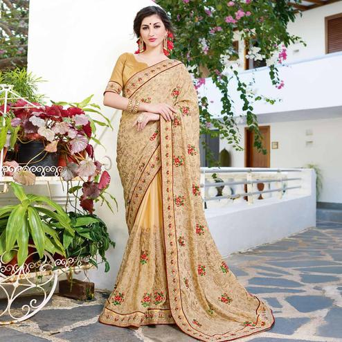 Blooming Beige Colored Partywear Embroidered Georgette Silk Saree