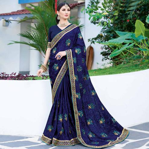 Groovy Navy Blue Colored Partywear Embroidered Georgette Silk Saree